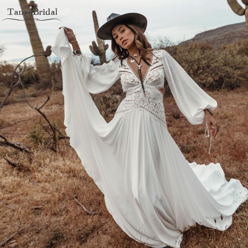 Long Sleeve Bohemian Wedding Dresses Deep V-Neck Backless Bridal Gowns Dreamy Noivas Chic Rue De DW196