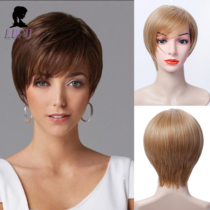 LUPU Women Synthetic Short Bob Hair Wig With Bangs Cut Pixie Black Blonde Brown  Heat Resistant Natural Fake Hair