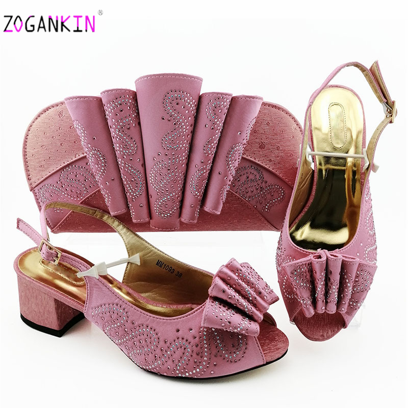 Pink Color 2019 New Sweet Style Decorated With Rhinestone Shoes And Bag Set Italian Design Matching Shoes And Bag Set For Party