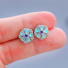 Cute Female Flower Stud Earrings With Opal Fashion 925 Sterling Silver Party Earrings For Women Classic Love Wedding Earrings(China)