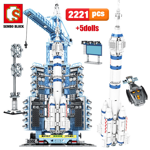 SEMBO City Spaceship RC Aerospace Rocket Building Blocks Technic Remote Control Carrier Space Launch Bricks Toys For Children