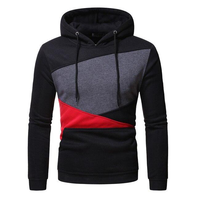 Autumn Long Sleeve Patchwork Hoodie Hoodies & Sweatshirts Unisex color: Gray White