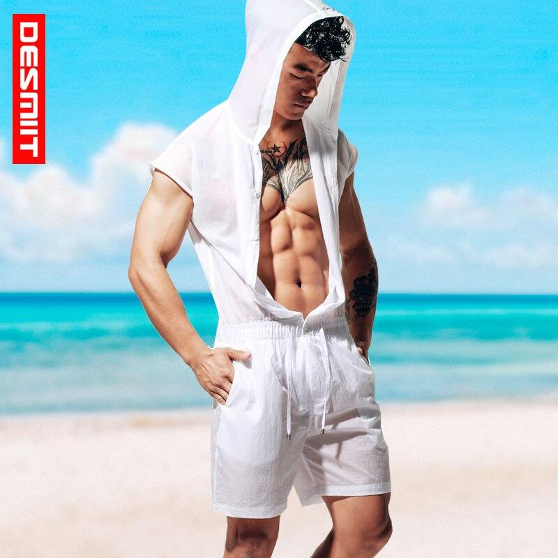 Men Beach Shorts Jumpsuit Quick Dry Water Sports Bodysuit Ultra-Thin Sun Sleeveless Body Suits