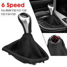 5 6 Speed Manual Gear Shift Knob Boot Cover Gaiter Lever Shifter Handle Stick For BMW F30 F31 F32 F33 F34 F35 F36