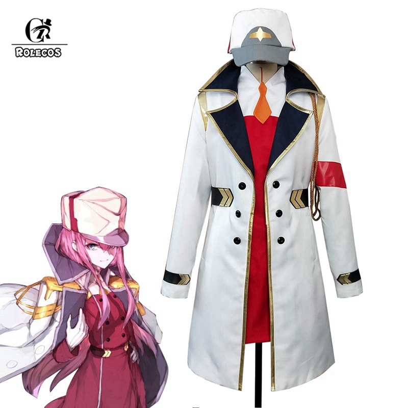 ROLECOS DARLING In The FRANXX 02 Cosplay Costume Zero Two Cosplay  Women Costume White Coat Hat Anime Cos