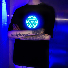 Iron Man LED Electro Luminescent EL Light Up Acoustic Control Sound Activated Short Sleeved Music T Shirt for Party
