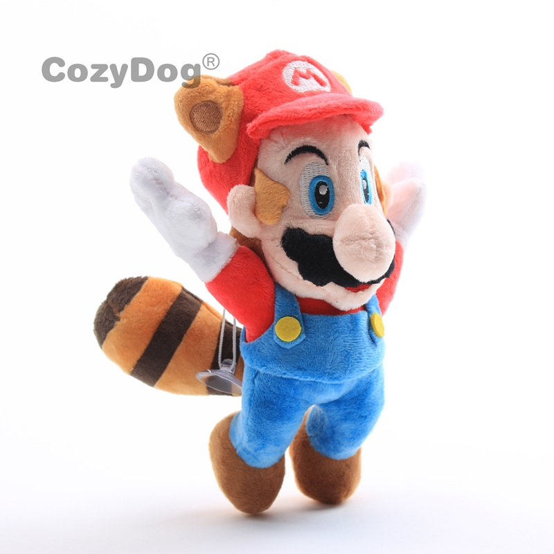20cm Mario Plush Toys Doll <font><b>Peluche</b></font> Cute Flying Raccoon Tanooki Mario Stuffed Toys Red Color Women Kids Birthday Party Gift image