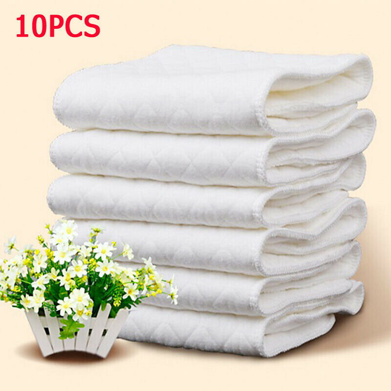 10Pcs/lot Baby Reusable Cloth Diapers Inserts 1 Piece 3 Layer Diaper Insert 100% Cotton Washable Baby Cloth Diaper