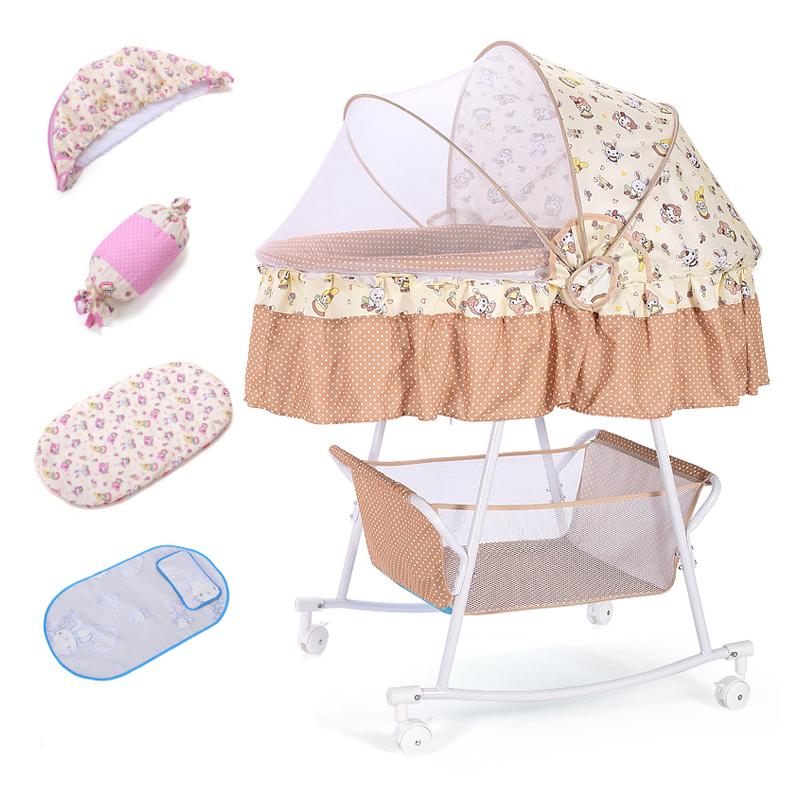 Multifunction Comfort Bed With Roller Sleeping Basket Newborn Baby Cardle Bed Infant Shaker Bed With Mosquito Rocking Chair