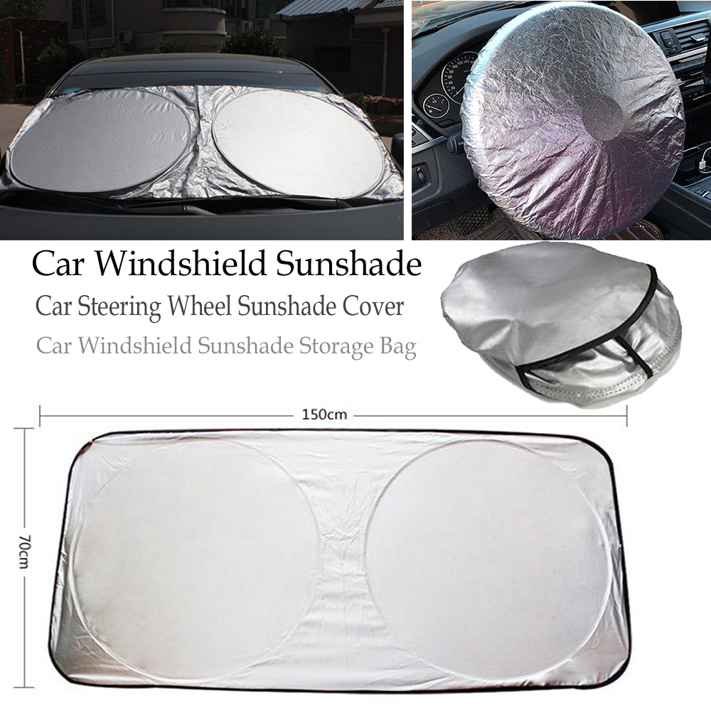 Silver 59*27.5in Car Front Windshield Sunshade Window Sun Shade Protection&Autos  Windscreen Ice Snow Cover Foldable Styling