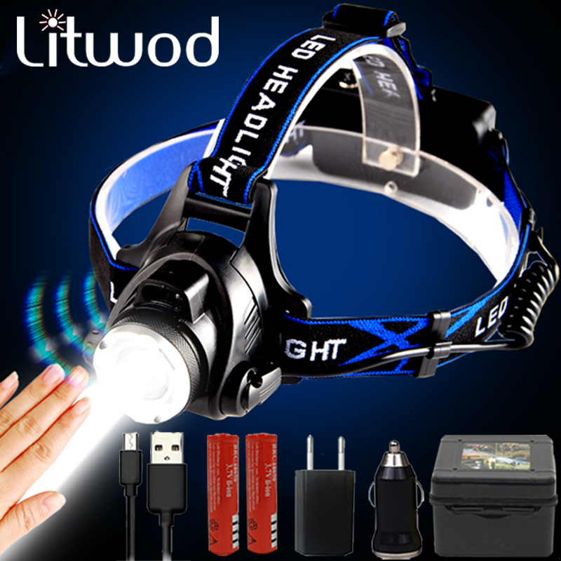 LED Sensor Headlamp Zoomable Dropshipping T6 / L2 Headlight 3 Modes Zoomable Waterproof Super Bright Waterproof Headlamp Fishing