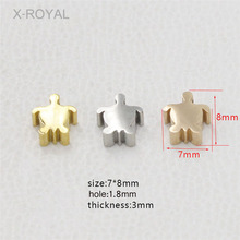 X-ROYAL 10Pcs/lot Steel Gold Rose Color Stainless Loose Beads 7*8mm Turtle Shape DIY Jewelry Findings Spacer