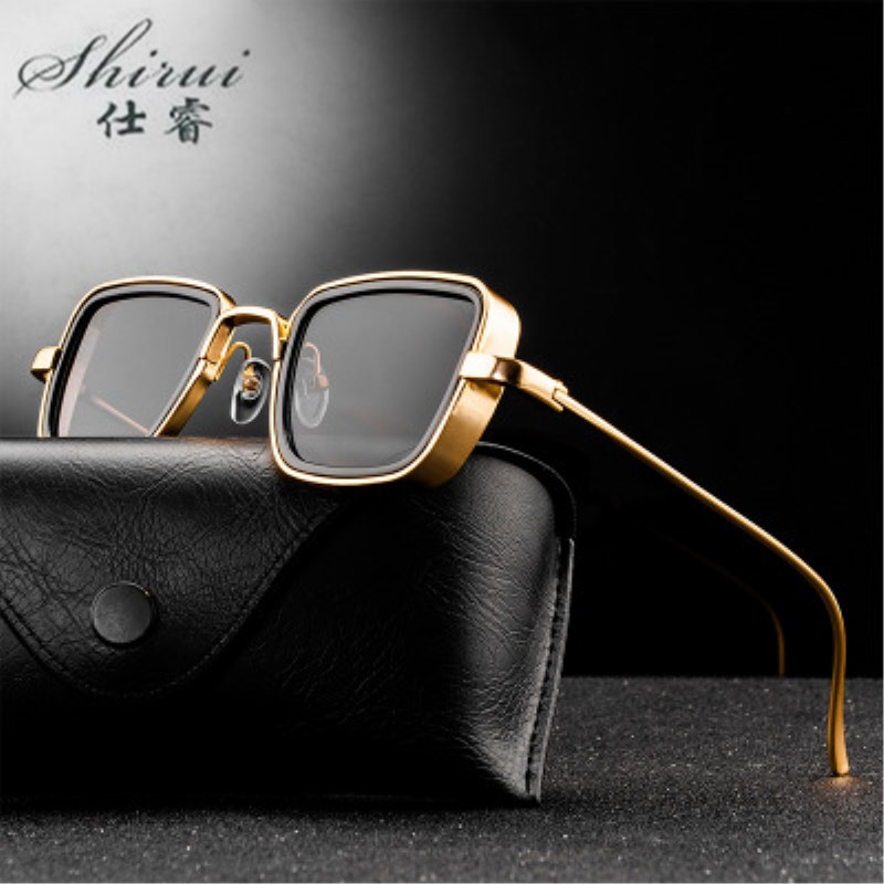 Classic Gothic Steampunk Sunglasses Alloy Men Women Brand Designer Vintage Square Metal Frame Sun Glasses High Quality UV400