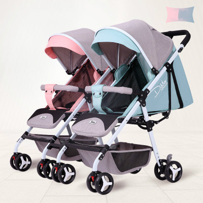 Twin Baby Stroller Lightweight Folding Can Sit Reclining Detachable Second Child Double Child Trolley Strollers for Kids