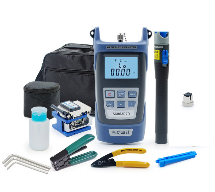 Free Shipping  6 In1 FTTH Fiber Optic ToolKits Optical Fiber Optical Power Meter/ Visual Fault Locator/ Strippers/ Fiber Cleaver