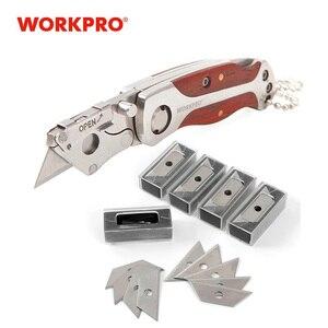WORKPRO Portable KeyChain Knife Mini Folding Knife Camping Key Ring Knife with 50 MINI Blades