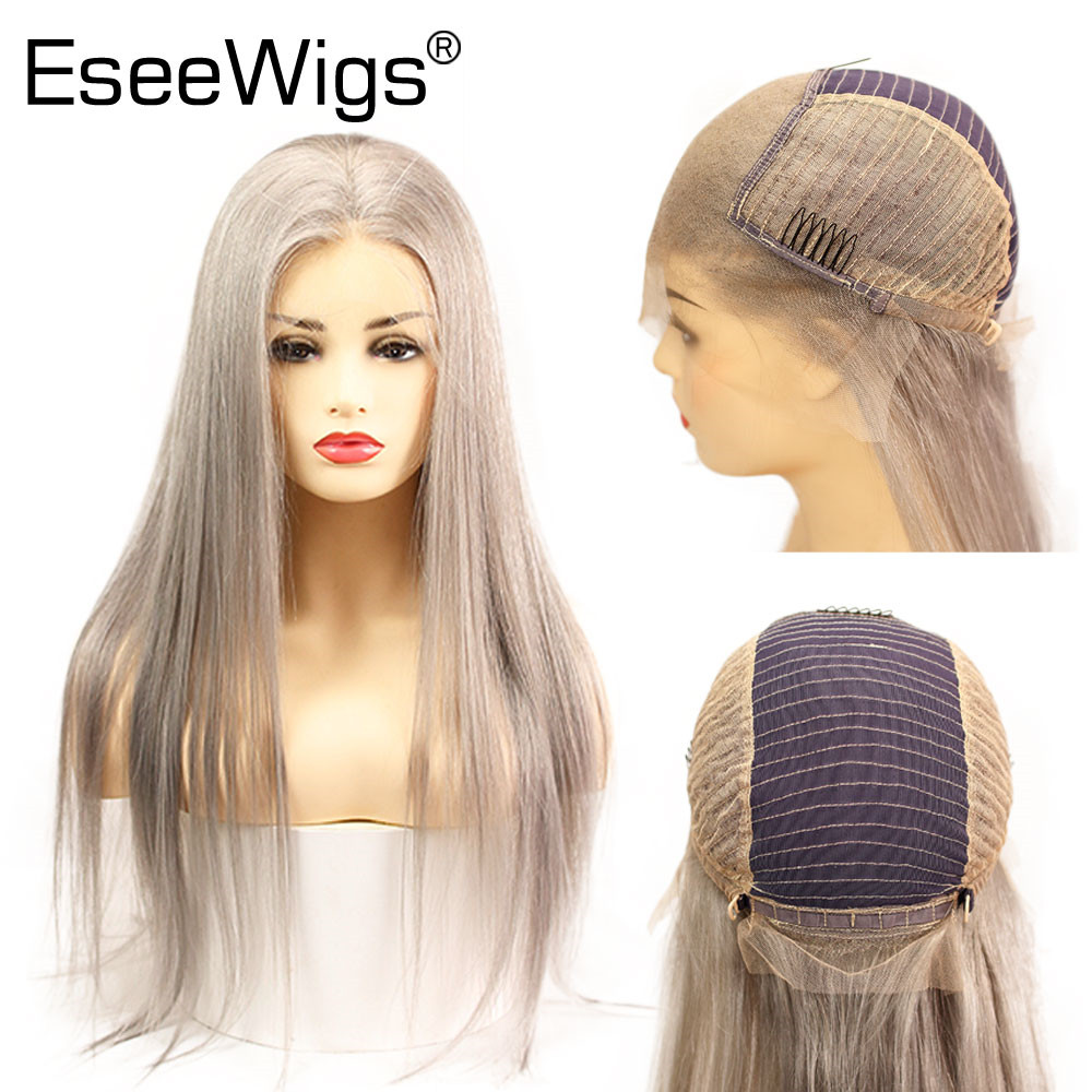 Eseewigs Silver Grey 13x6 Transparent Lace Front Wigs Human Hair Silky Straight Glueless Lace Wigs Brazilian Remy Hair 26 Inch