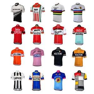 Image 1 - 16 สไตล์ Retro ขี่จักรยาน jerseys ฤดูร้อนเสื้อแขนสั้นสวมใส่สีแดงสีขาวสีชมพูสีดำแผนที่ JERSEY ขี่จักรยานเสื้อผ้า braetan