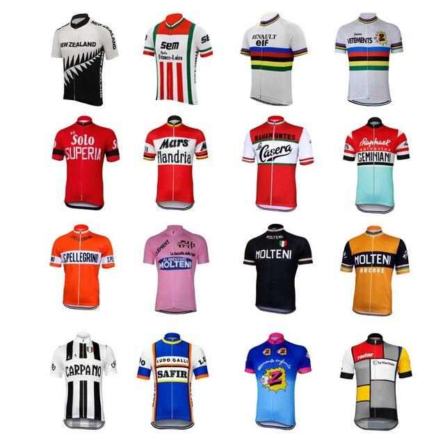 16 สไตล์ Retro ขี่จักรยาน jerseys ฤดูร้อนเสื้อแขนสั้นสวมใส่สีแดงสีขาวสีชมพูสีดำแผนที่ JERSEY ขี่จักรยานเสื้อผ้า braetan