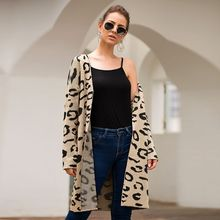 Fashion Autumn Long Cardigan Sweater Jacket Coat Women Ladies Leopard Print Long Sleeve Casual Knitted Cardigan Outwear sweter bear print buttoned knitted cardigan