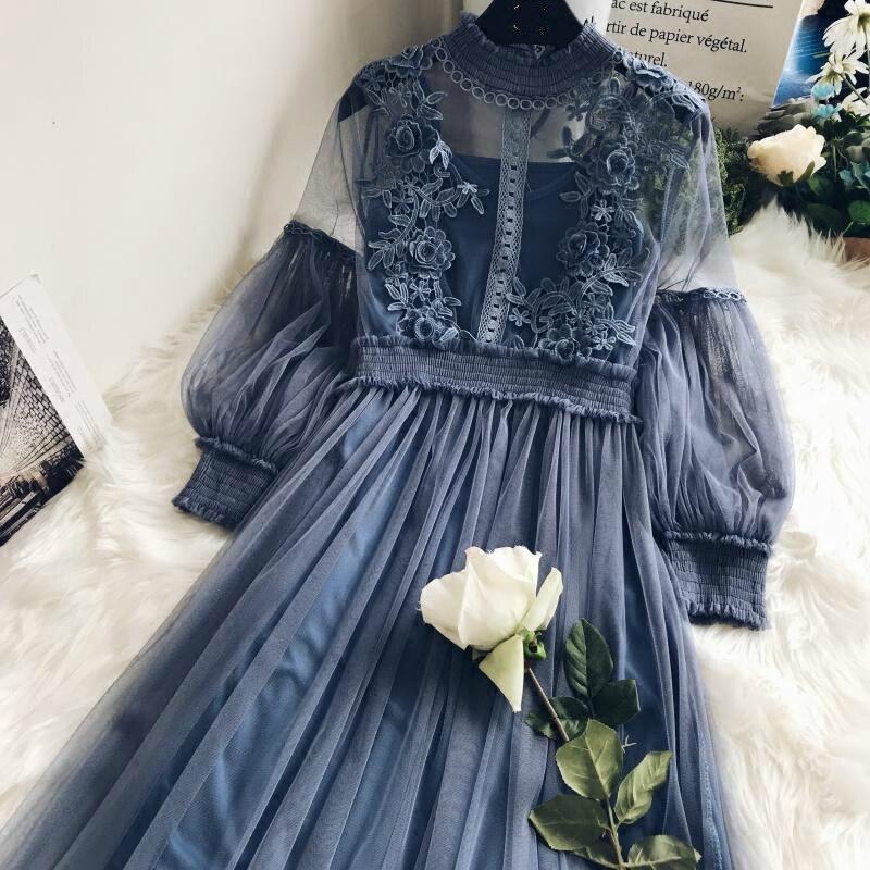 New Arrivals Women Lace Flower Dress Gauze Lantern Sleeve Voile Long Dress Female Retro Hook Princess Dress 2 Piece Set 5