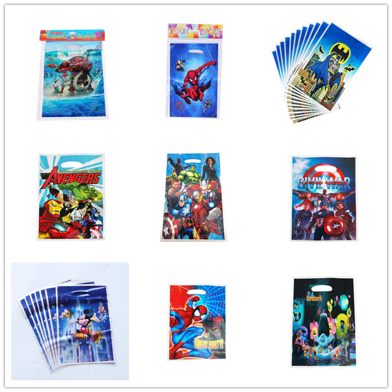 50pcs Gift Bag Loot Bag Avengers Hero SpiderMan Iron Man Go Kids Birthday Party Supply Event Party Supplies Party Decoration Set