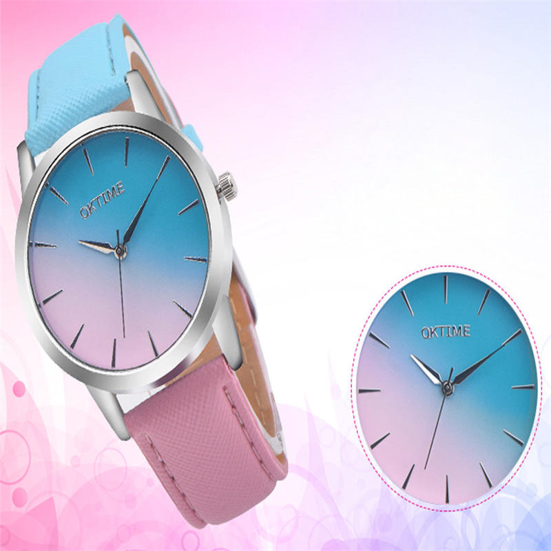 2020 Fashion WristWatch Retro Rainbow Design Women Dress Watch Quartz Leather Watches Gift For Lovers Montre Relogio #DN