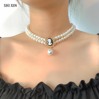 SHIXIN Layered Short Pearl Choker Necklace for Women White Beads Necklace Wedding Jewelry on Neck Lady Pearl Choker Collar Gifts 1