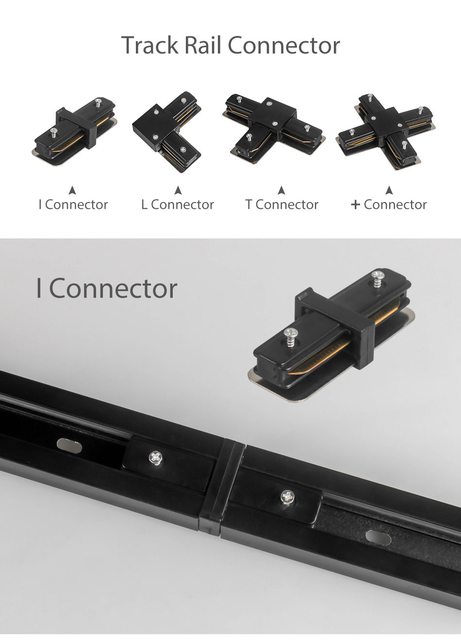Track Rail 1m Track Light Fitting Aluminum 1 meter 2 wire Connector System Tracks Fixture black white Universal Rails 10pcslot (5)