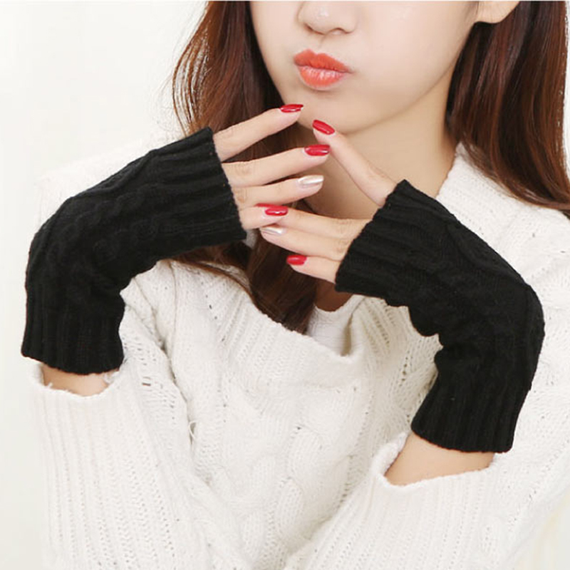 Knitted Long Hand Finger Free Glove Winter Warm Wool Fingerless Gloves For Women Girl Men Unisex