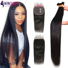 Bundles Straight Closure 30inch Human-Hair Brazilian And with Remy Hair-Weave 6x6