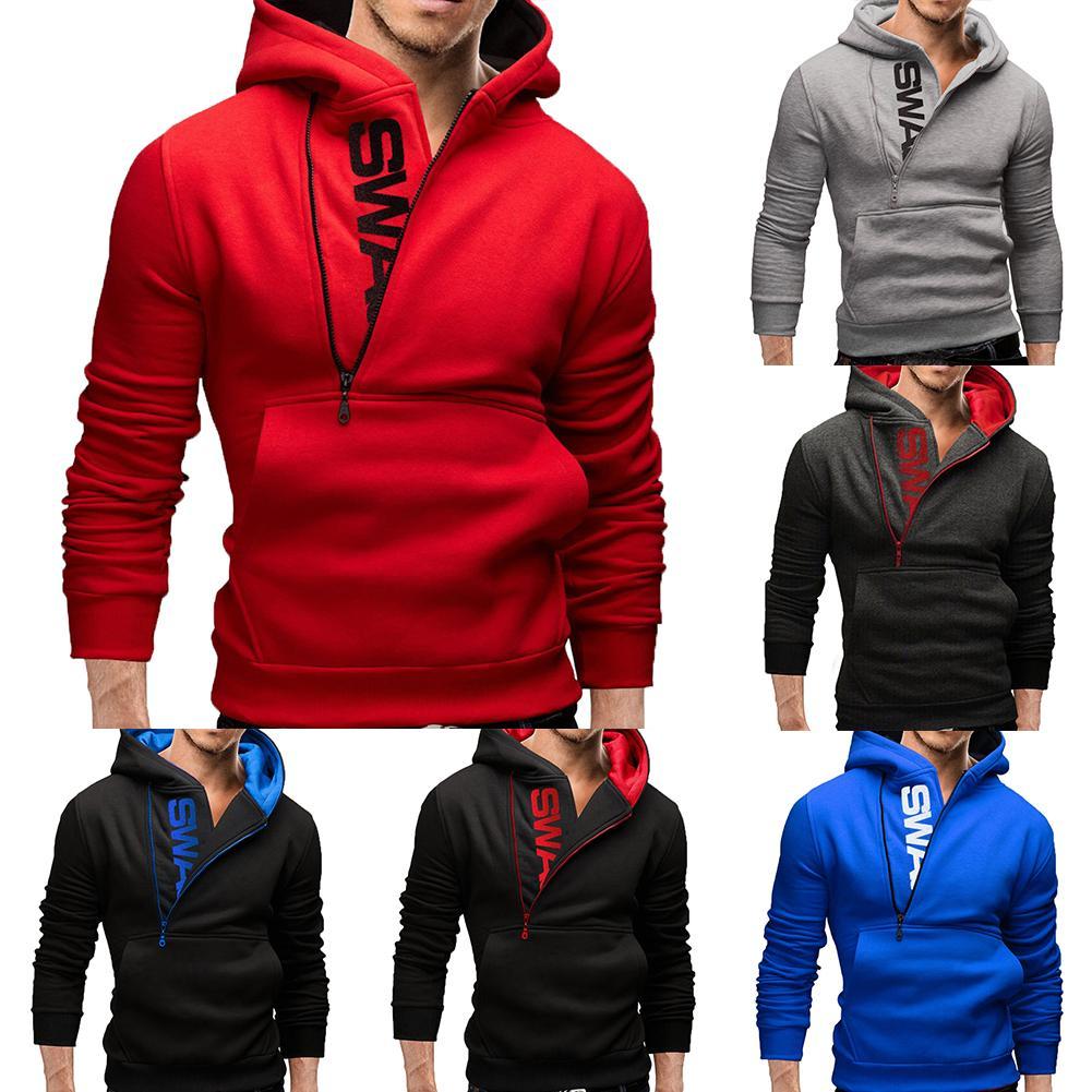 Sports Men Plus Size Slant Zipper Letter Hoodies Long Sleeve Hooded Sweatshirt
