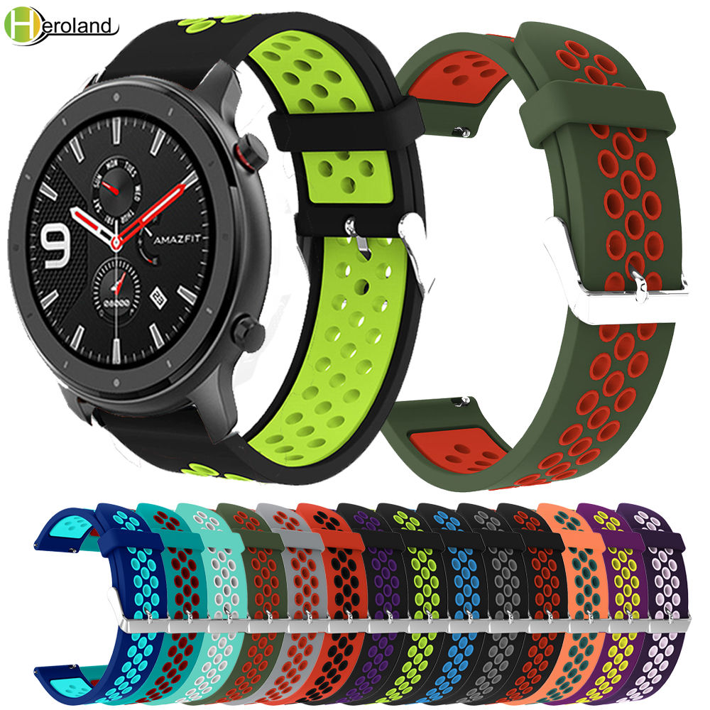 Round Hole Silicone 22MM Replacement Adjust Sport Strap For Huami Amazfit GTR 47mm/Amazfit Stratos 2/2S Pace Smart Watchband New