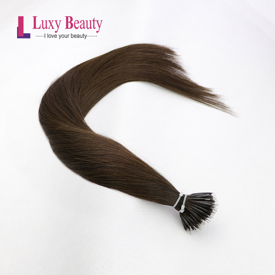 LuxyBeauty Nano Hair Extensions Remy Micro #2 Darkest Brown 12