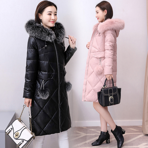 2019 Winter New Popular Wind Korean Version Pink Big Code Women Simple Elegant Temperament Slim Thicker Long Female   Down     Coat