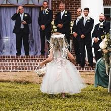 Double Layer  Flower Girl Wedding Veil Short Tulle Head Lace Bowknot Wedding Bridal Veils Wedding Hair Decoration