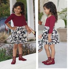 Geckatte nowe sukienki dla dzieci dla dziewczynek letnia sukienka dla dziewczynki ubrania dla dziewczynek kwiat księżniczka sukienka dla dziewczynek sukienka dla maluchów sukienki dla dziewczynek kwiat tanie tanio COTTON Poliester Kolan O-neck Dziewczyny REGULAR Pełna Na co dzień Pasuje prawda na wymiar weź swój normalny rozmiar