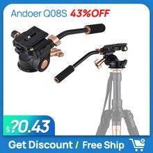 Andoer Q08S tête de trépied à tête vidéo à amortissement à 3 voies en alliage daluminium avec poignée de barre panoramique pour appareil photo DSLR ILDC pour trépied monopode