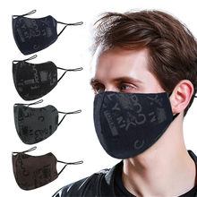 Homem e mulher carta impressa máscara facial lavável reutilizável máscara de boca pano protetor facial respirável tampões de boca mondmasker