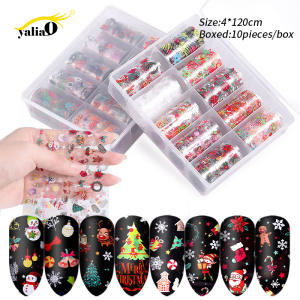 YALIAO Christmas Halloween Nail Stickers Decals 10 Pcs Holographic Nail Foil Water Transfer Stickers DIY Decorations Manicure
