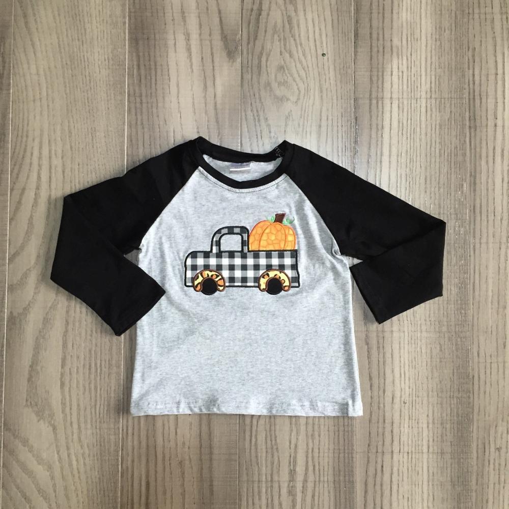 Girlymax Fall winter cotton grey black truck Gingham pumpkin top long sleeve t-shirt baby boys raglans boutique kidswear 1