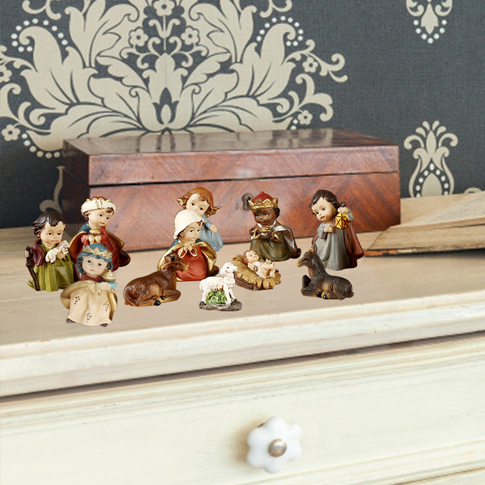 Jesus Ornament Religious Resin Handicraft Decor Christmas Cartoon Manger Set Religious Gifts Available In Various Designs And Specifications For Your Selection