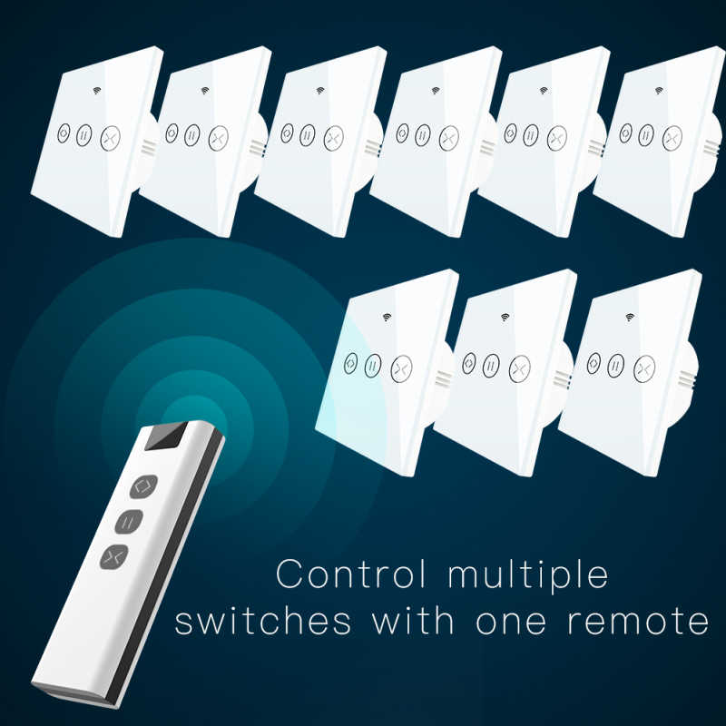 Tuya Kehidupan Cerdas WIFI-RF Smart Touch Tirai Switch Tirai Roller Shutter Pintu Switch 1 RF Remote Control Beberapa switch Alexa