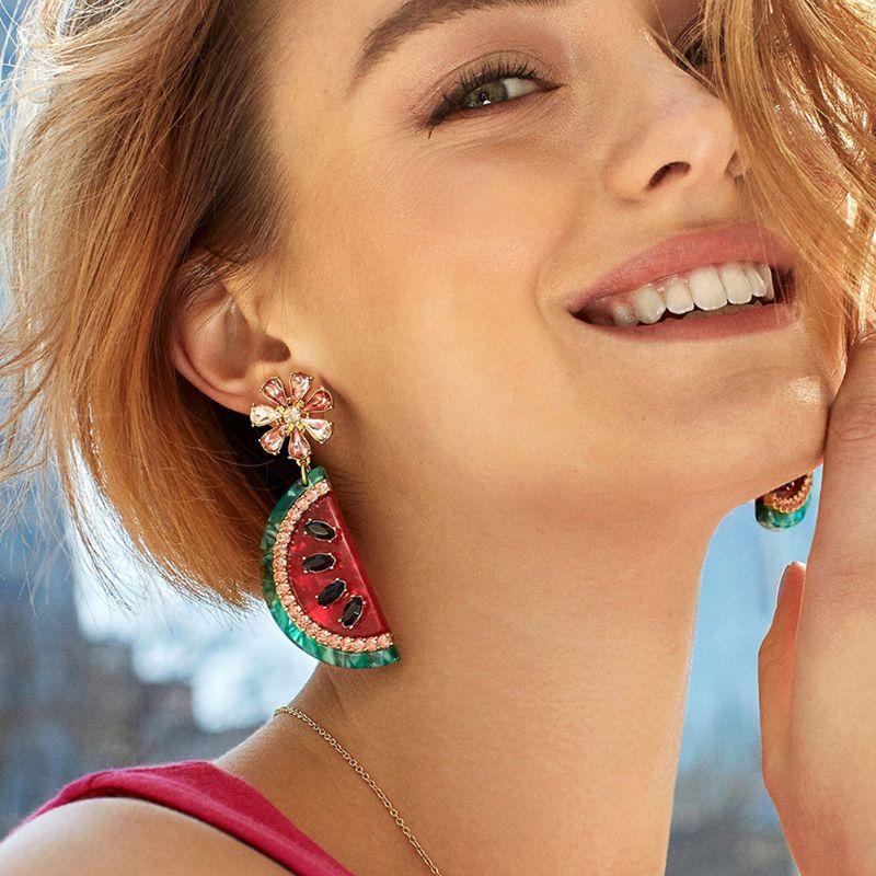 Boucles d'oreilles en forme de pastèque en émail de fruits en cristal brillant pour femmes