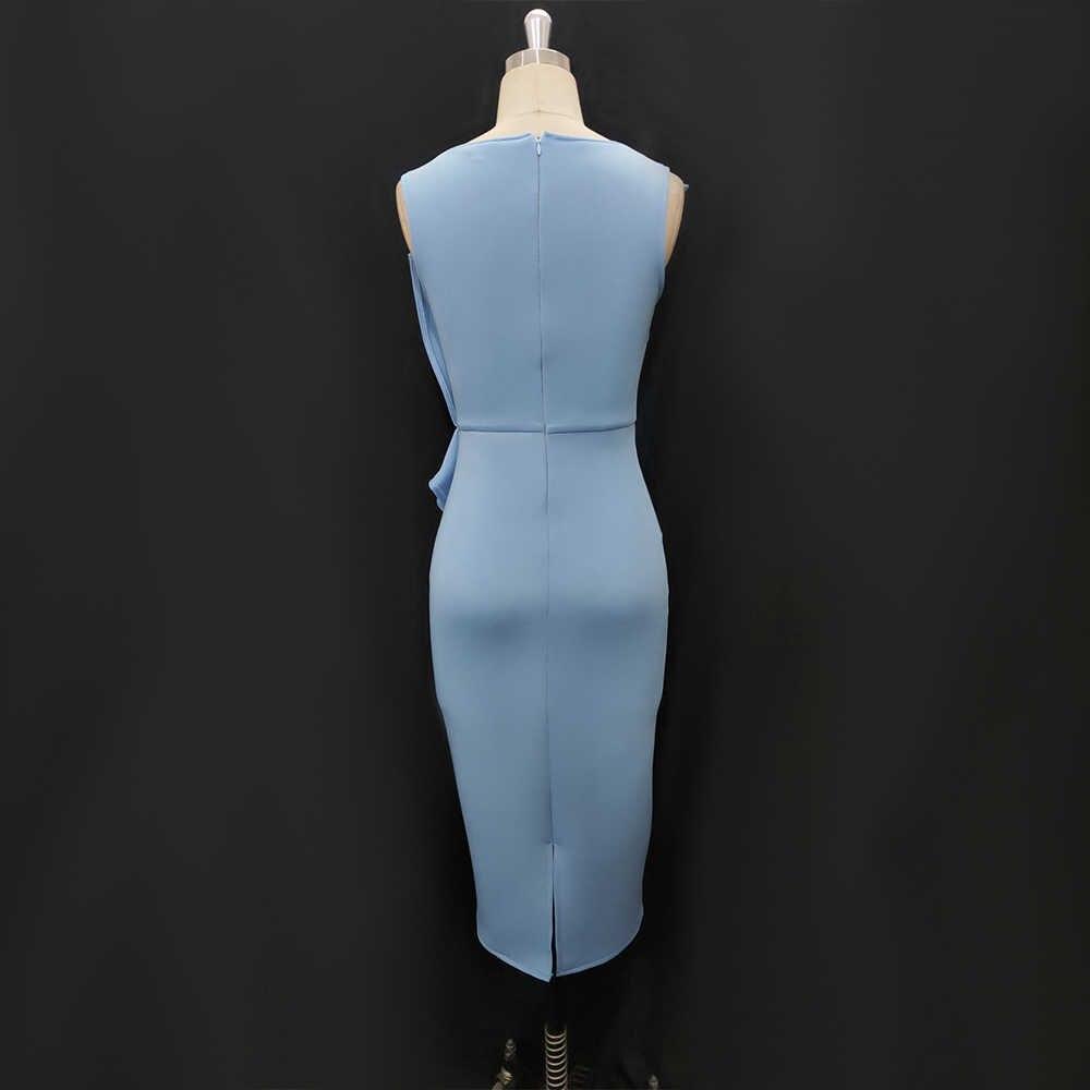 Blu Vestito Da Partito Midi Senza Maniche Peplo Ruffles Donne Occasione Abiti Matita Data Evento Fuori Celebrare Abiti Femminili di Estate