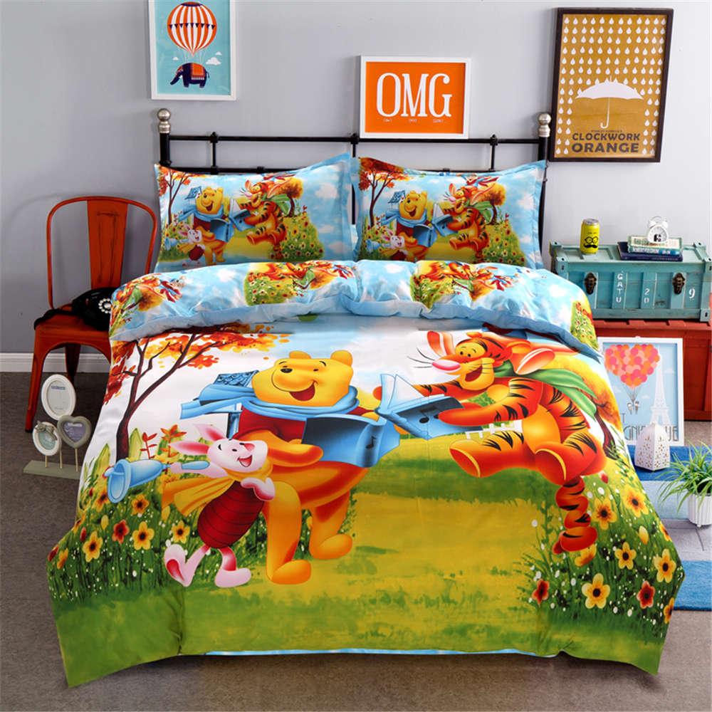 Disney niedlichen Cartoon Winnie Pooh Ferkel Tigger Bettwäsche Set König Königin Größe Bettbezug Blatt Bettdecke Mädchen Hause geschenk