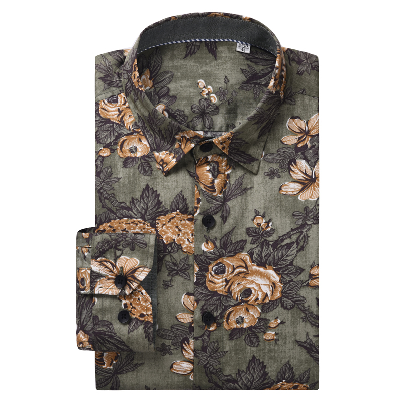 Men's Fashion Floral Long Sleeve Flower Printed Shirt Button Closure Comfortable 100% Cotton Standard-fit Casual Shirts