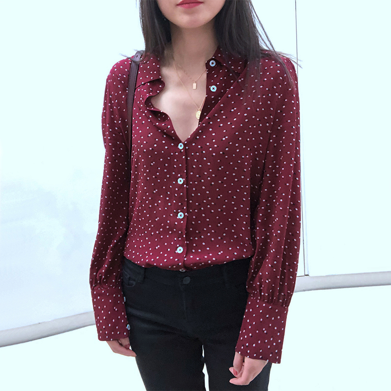 2020 New Women Polka Dot Print Blouse Long Sleeve Vintage Top
