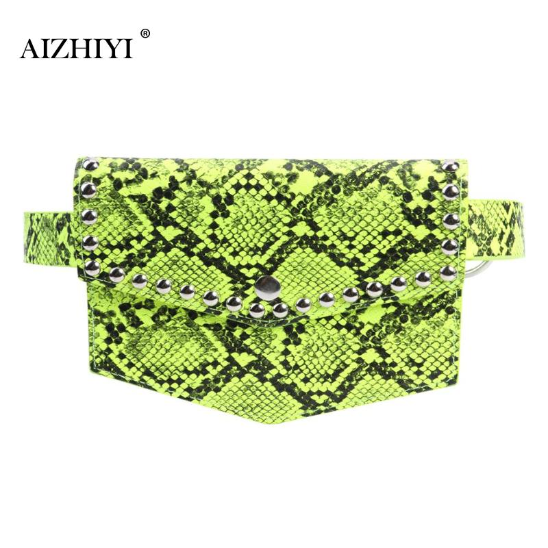Female Fashion PU Leather Serpentine Waist Bags Women Rivet Snake Print Casual Chest Bags Crossbody Fanny Packs
