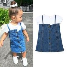 Emmaby verano niño chico bebé niña conjuntos de ropa camisetas blancas Tops + vestido de mezclilla Azul 2 piezas ropa trajes